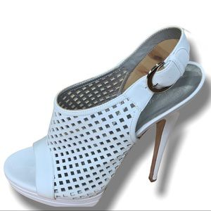 CASADEI WHITE PERFORATED LEATHER STILETTO SANDALS